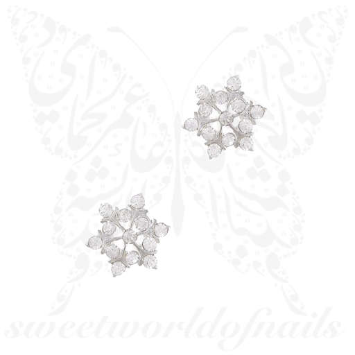 3D Christmas Nail Decoration Charms Silver Snowflakes / 2pcs