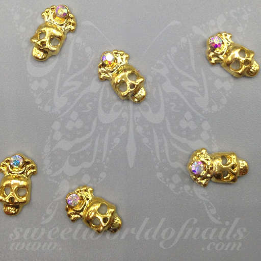 3D Gold Skull Nail Charms Halloween Decoration