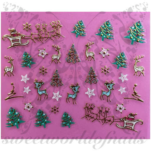 3D Metallic Christmas Nail Art Stickers