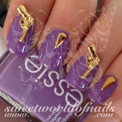 3D Gold Pistol Gun Nail Charms Nail Decoration