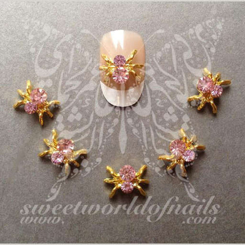 3D Pink Spider Nail Rhinestones Nail Decoration