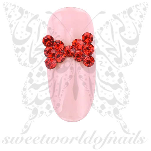 3D Red Bow Nail Decoration Charms / 2pcs