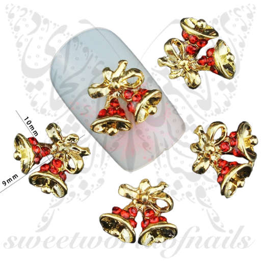 3D Christmas Nail Art Christmas Bells Charms / 2 Pcs