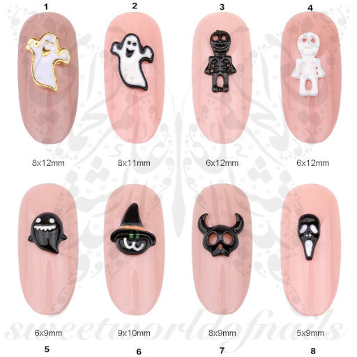 3D Halloween Ghost Skeleton Nail Charms