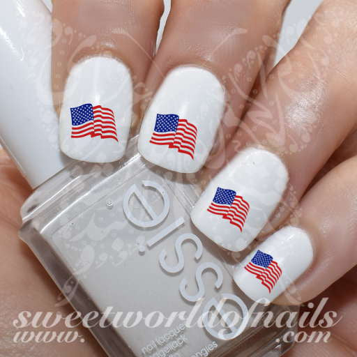 4th Of July Nail Art Patriotic Waving American Flag Nail Water Decals Slides