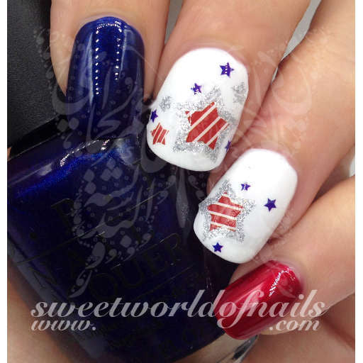 4th Of July Nail Art Water Decals Glitter Stars American Flag Nails