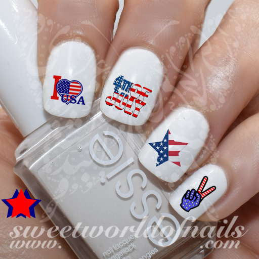 4th Of July Nail Art I Love USA American Flag Star Nail Water Decals Slides