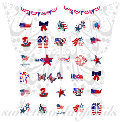4th Of July Nail Art Collection Nail Water Decals Slides