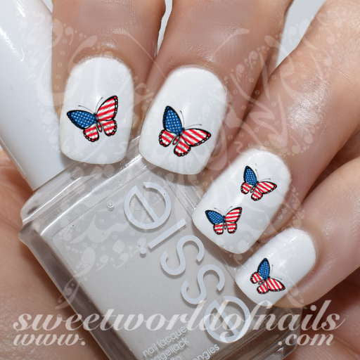 4th Of July Nail Art USA Flag Butterfly Nail Water Decals