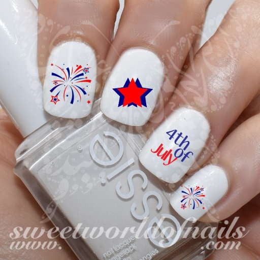 4th of July Nail Art Stars Fireworks Water Decals Fireworks Transfers Wraps