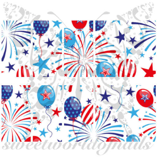 Fourth Of July USA Fireworks Balloons Water Full Wraps