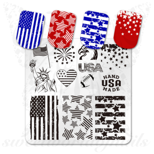 4TH Of July Nail Art Stamping Plate