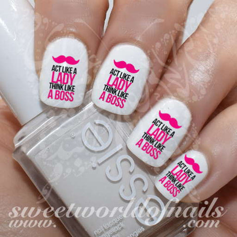 Act like a lady think like a boss Nail Art Nail Water Decals Transfers Wraps