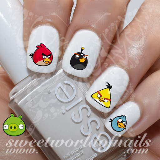 Angry Birds Nail Art Red Bomb Chuck the Blues Pig Nail Water Decals