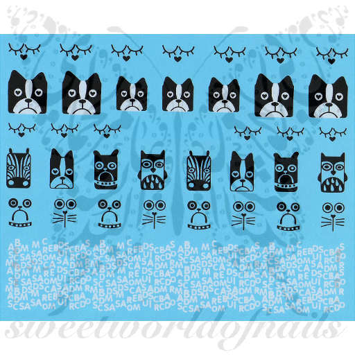 Animal Faces Nail Art Nail Water Decals Transfers Wraps