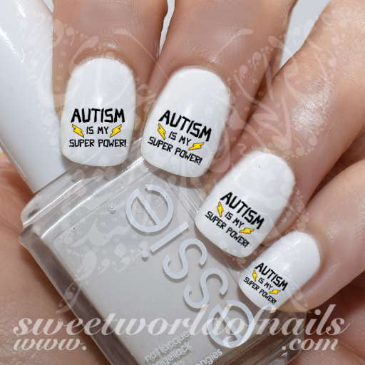 Autism Awareness Nail Art  Autism is my super power Nail Water Decals Slides