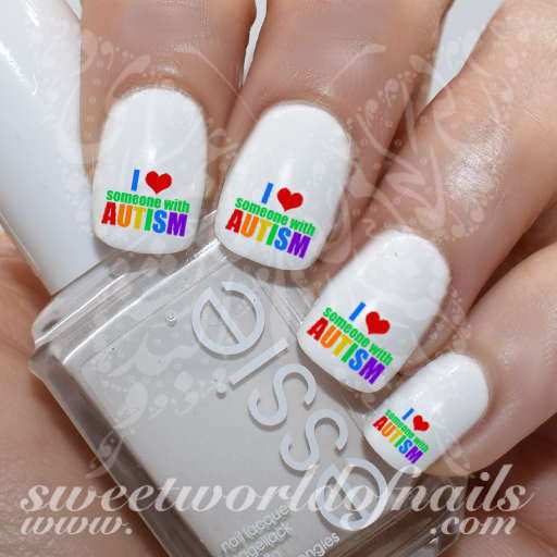 Autism Awareness Nail Art I love someone with Autism Nail Water Decals Slides