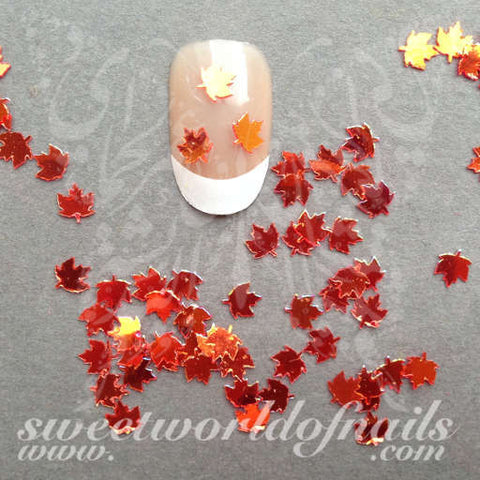 Autumn Nail Art 3D Orange Maple Leaves Nail Decoration