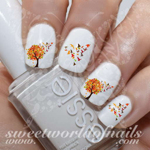 Autumn Nail Art Autumn Tree Falling Leaves and Flying Birds Nail Water Decals Water Slides
