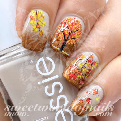 Last Autumn Nail Art Of The Year: Autumn Nail Art Tree Leaves Nail Water Slides