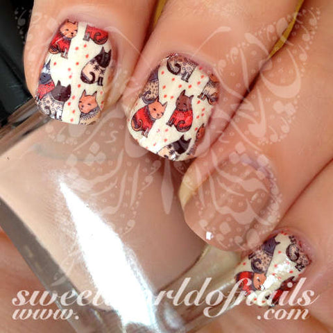 Cats and Sweaters Nail Art Water Full Wraps Transfers