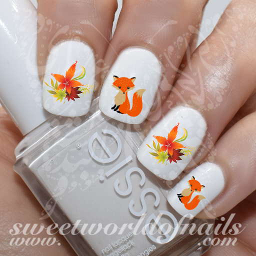 Fox Nail Art Autumn Leaves Nail Water Slides
