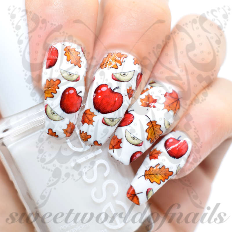 Autumn Nail Art Leaves And Apples Water Full Wraps