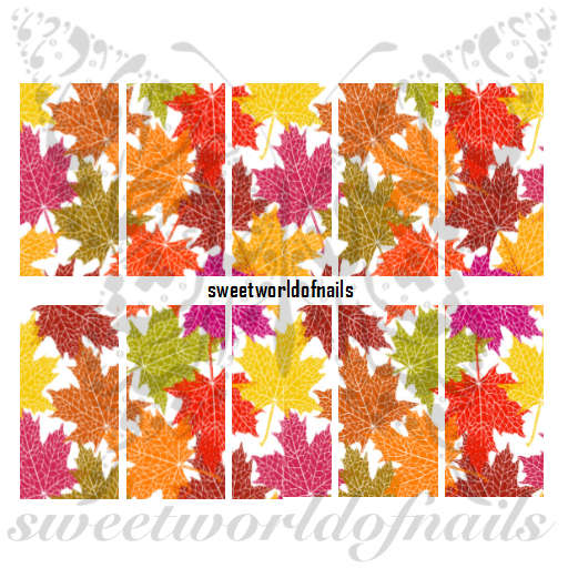 Autumn Nail Art Leaves Water Full Wraps