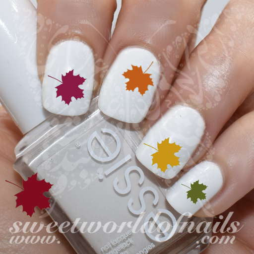 Autumn Nail Art Maple Tree Leaves Nail Water Decals Water Slides