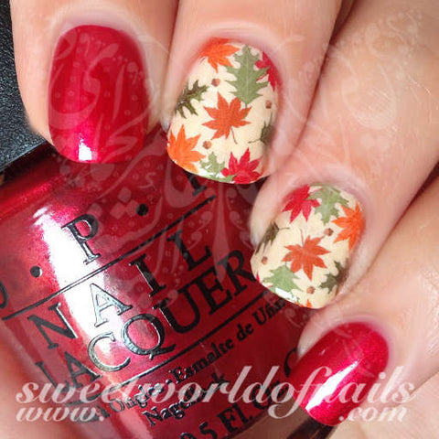 Autumn Nail Art Fall Leaves Nail Full Water Wraps Water Slides