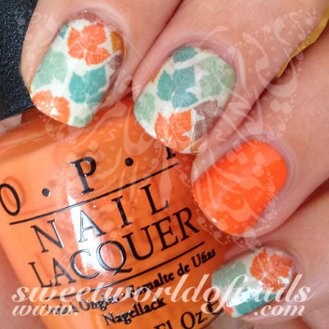 Autumn Nail Art Autumn Fall Leaves Nail Water Full Wraps Water Slides