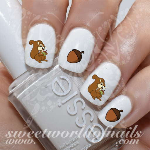 Autumn Nail Art Thanksgiving Nails Squirrel Acorn Nail Water Decals Water Slides