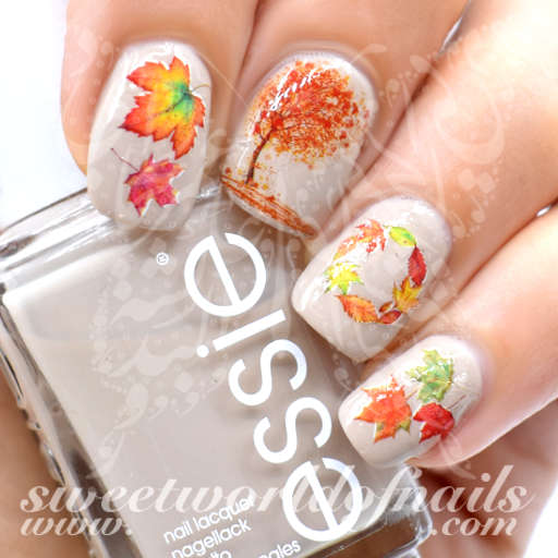 The Polish Playground Glittery Autumn Leaf Nail Art: Autumn Fall Nail Art Trees And Leaves Nail Water Decals