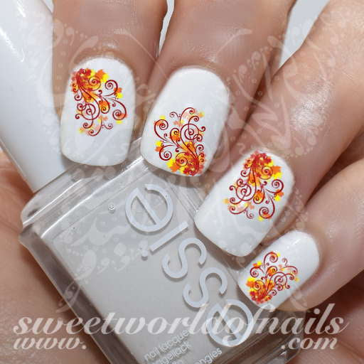 Autumn Nail Art Swirls Nail Water Decals