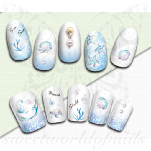 Summer Nail Art Jellyfish Starfish Nail Stickers