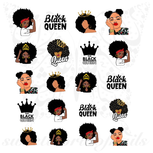 Black Queen Nail Art Afro Woman Water Decals