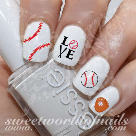 Baseball Nail Art Baseball Glove Stitches Love Baseball Nail Water Decals Water Slides