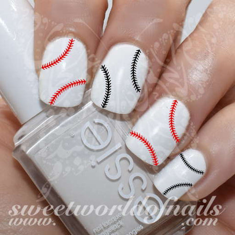 Baseball Nail Art Black Red Stitches Nail Water Decals Slides