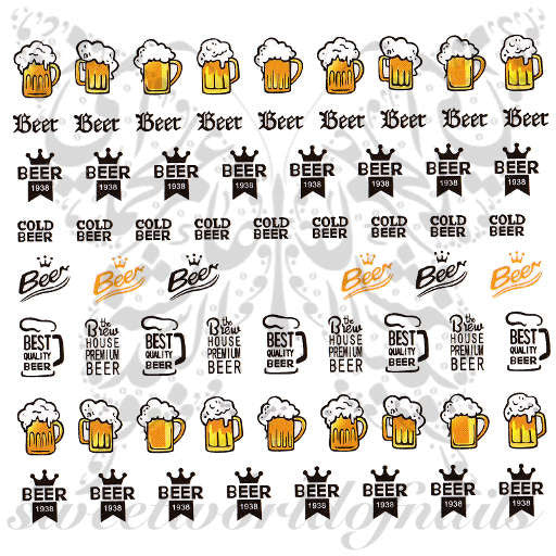 Beer Nail Art Nail Water Decals Slides