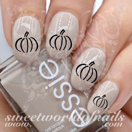 Autumn Nails Black Pumpkin Nail Water Decals