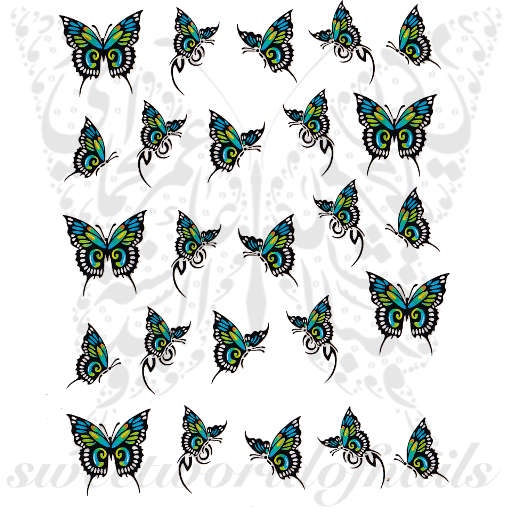 Blue Green Butterflies Nail Art Water Decals