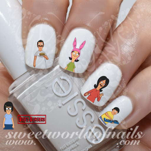 Bob's Burger Nail Art Bob Linda Gene Louise Tina Nail Water Decals Wraps