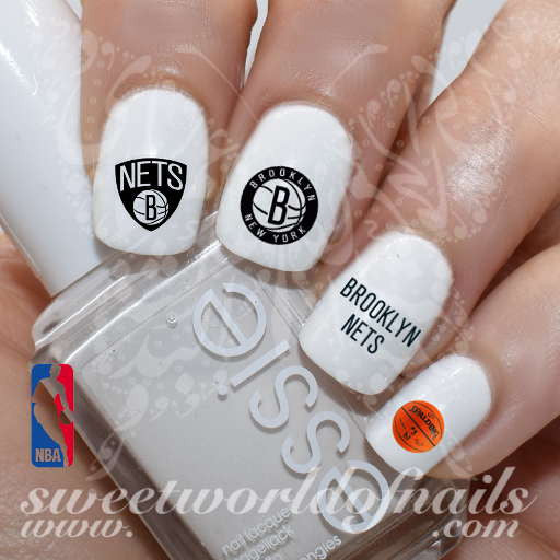Brooklyn Nets Nail Art NBA Basketball Nail Water Decals Nail Transfers Wraps
