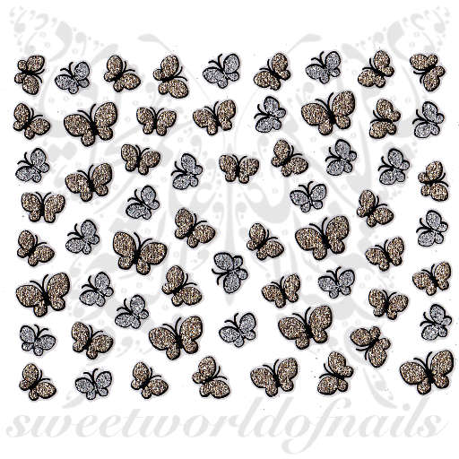 Butterfly Nail Art Glittery Nail Stickers