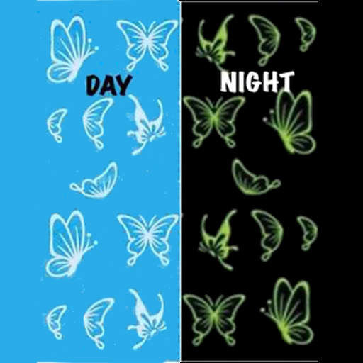 Glow in the dark Butterfly Nail Water Decals Transfers Wraps