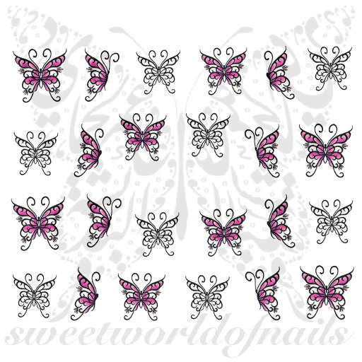 Butterfly Nail Art Pink and Black Butterflies Nail Water Decals