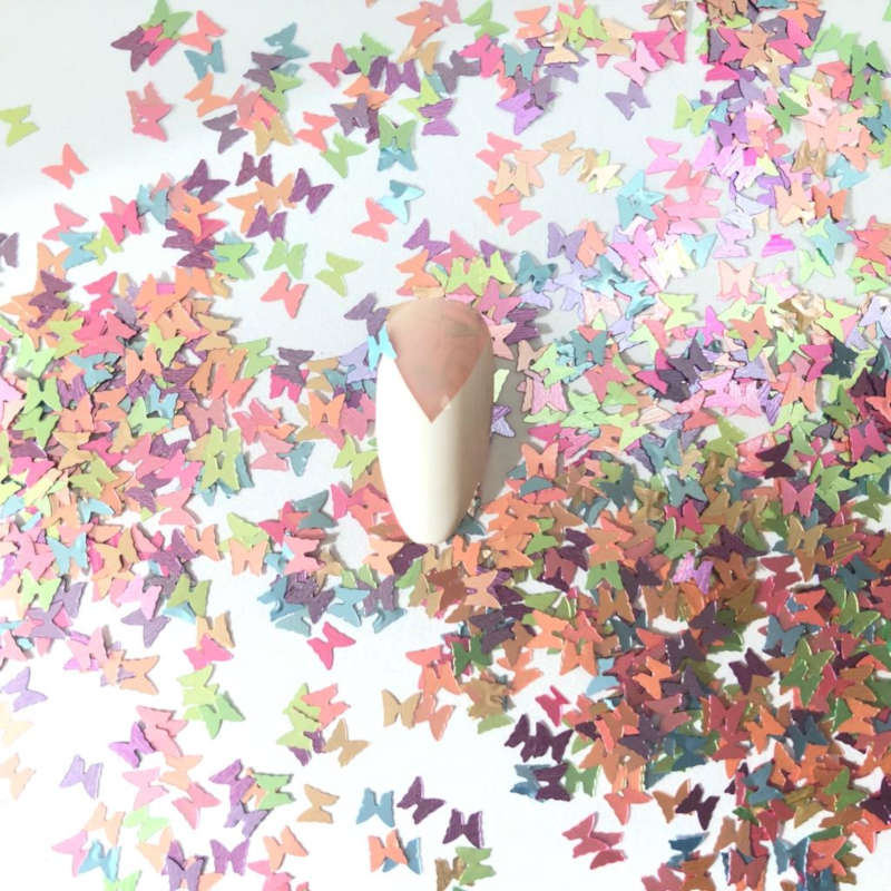 Butterfly Nail Art Spring Confetti Glitter