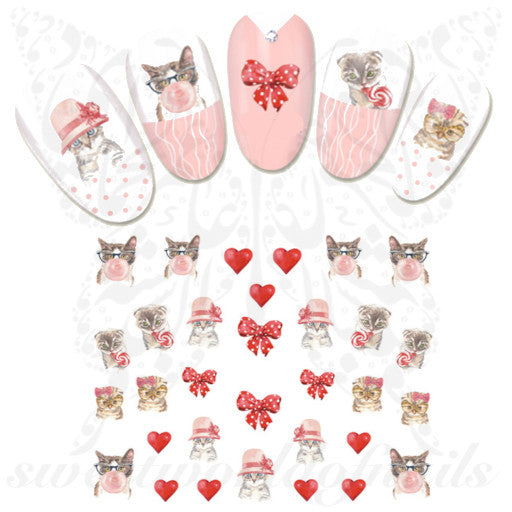 Cat Nails Ribbon Red Hearts Nail Stickers