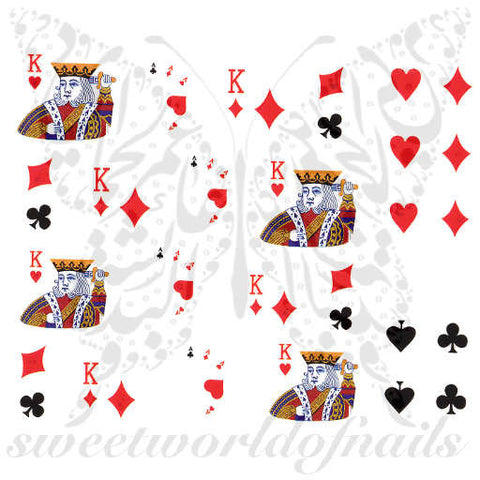 Card Suits Nail Art Hearts Spades Diamonds Clubs Nail Water Decals