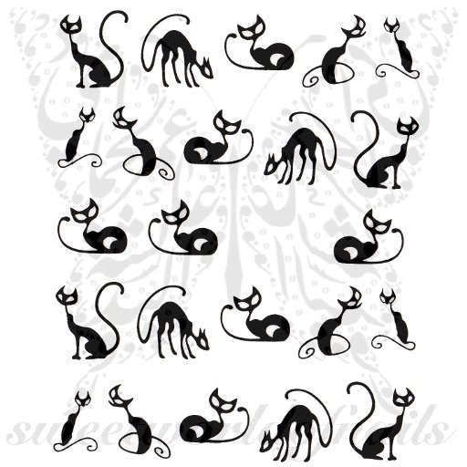 Cat Nail Art Black Cat Nail Water Decals Water Slides